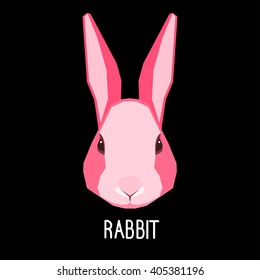 Abstract flat pink rabbit portrait isolated on black. Nature, animal, wildlife theme. Graphic rabbit painted in imaginary color for card, book, poster, banner. Forest animal collection