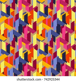 Abstract flat seamless pattern with paper stripes