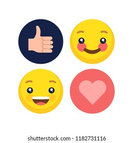 Abstract flat style design emotion set. Vector faces icon collection.