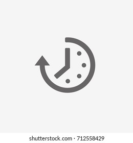 Abstract flat style time and clock vector icon. Trendy simple design passage of time symbol.