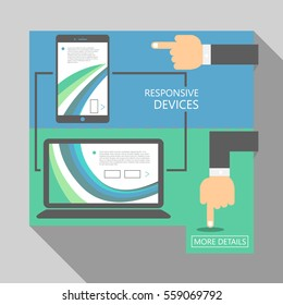 Abstract flat UI banners design template with illustration of directing hand. Can be used as responsive devices design, sale banners, steps, tutorial, workflow diagrams. Illustration, Vector eps10.
