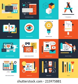 Abstract flat vector illustration of design and development concepts. Elements for mobile and web applications.