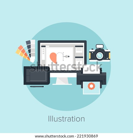Abstract flat vector image of illustration drawing process.