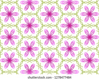 Abstract Flawer Repeat Backdrop With Lace Floral Ornament. Design For Prints, Textile, Decor, Fabric. Super Vector Pattern. Decorative wallpaper for interior design. Rose and green color