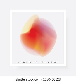 Abstract floating blurred gradient shape in pink, red and yellow color hues