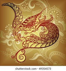 Abstract Floral And Asia Style Bird