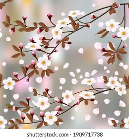 Abstract floral background. Blossoming branches of cherry and flying petals on colored abstract background in a random arrangement square format, seamless pattern. Pink Sakura texture, EPS 10, vector