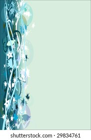 abstract floral background with circles and fish