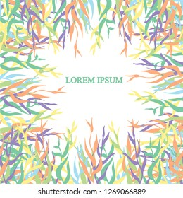 Abstract floral background. Colorful branch, leaf on white, Lorem Ipsum. Design element stock vector illustration for web, for print