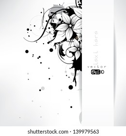 abstract floral background with flowers and swirls