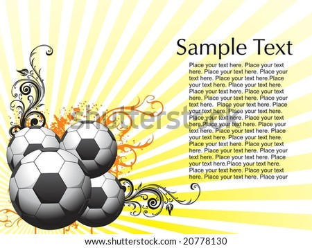 Abstract Floral Background Football Wallpaper Stock Vector