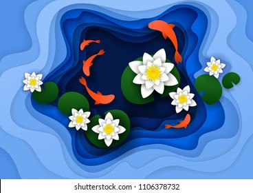 Abstract floral background with lotus water lily flowers, koi fish, water pond. Vector illustration in paper cut style.