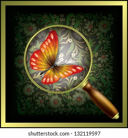 abstract floral background with Magnifying glass and butterfly