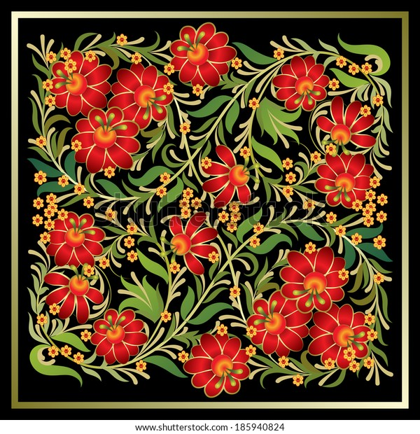 abstract floral background with red flowers on black