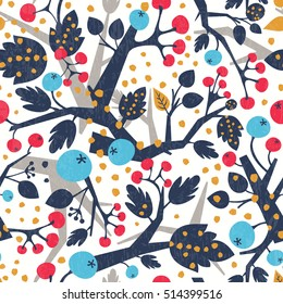 Abstract floral background. Vector seamless pattern with tree branches
