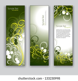 Abstract Floral Banners. Vector Eps10 Backgrounds.