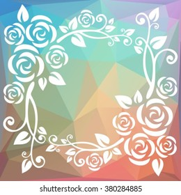 Abstract floral border on a light polygonal background.