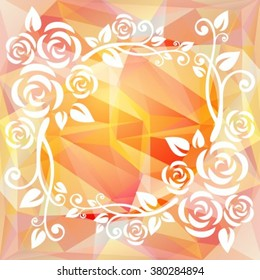 Abstract floral border on a light pink polygonal background.