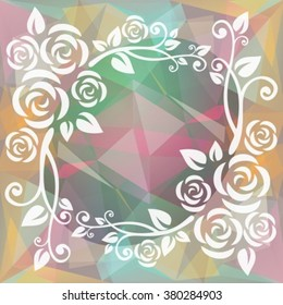 Abstract floral border on a light gray polygonal background.
