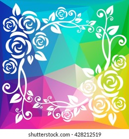 Abstract floral border on a light multicolored polygonal background.