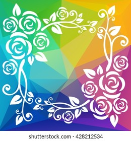 Abstract floral border on a  polygonal rainbow background.