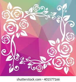 Abstract floral border on a purple polygonal background.