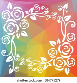Abstract floral border on a rainbow polygonal background.