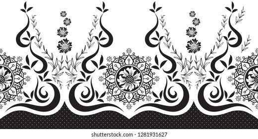 Abstract Floral border (Seamless Vector)