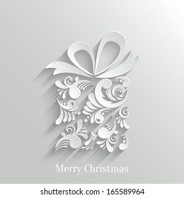 Abstract Floral Christmas Gift Background, Trendy Design Template