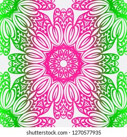 Abstract Floral Color Pattern. Seamless Vector Illustration. For Fantastic Design, Wallpaper, Background, Print. Meon color.