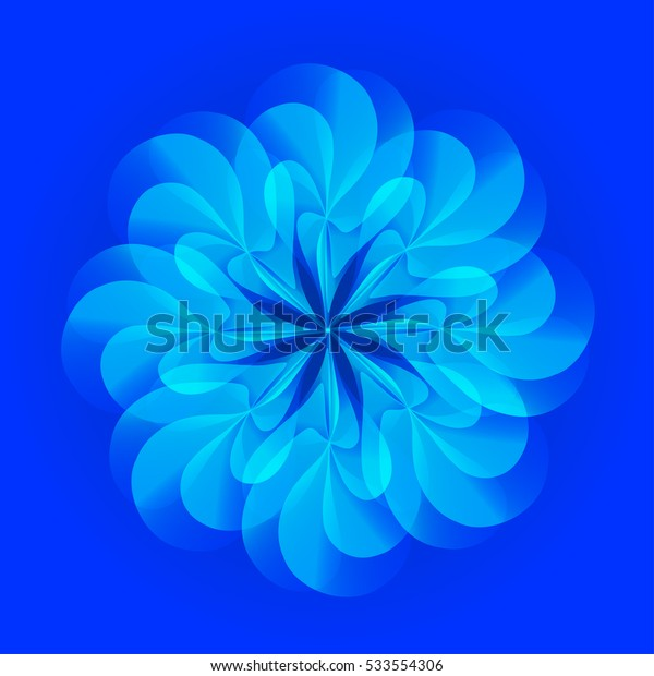 Abstract floral colorful ornament on blue background. Vector element for design.