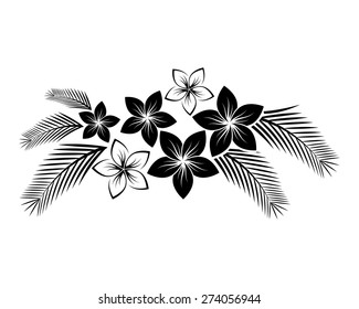Abstract floral composition with frangipani flowers and palm leaves for design.