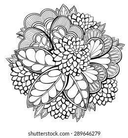 Abstract floral composition with trefoils. Hand drawn by ink. Vector illustration