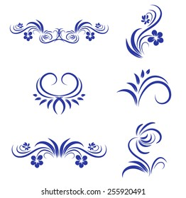 Abstract Floral Decorative Element Collection Over White