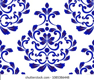 Abstract floral decorative ornament backdrop damask style, seamless blue and white royal pattern, baroque background for design, porcelain, ceramic, tile, texture, wall, fabric, vector illustration