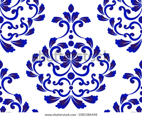 Damask 8x10 FT Backdrop Photographers,Floral Ornament with Symmetrical Leaves and Cute Little Flowers Surreal Swirls Lines Background for Baby Shower Bridal Wedding Studio Photography Pictures