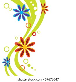 Abstract floral design. The dynamic flow of flowers, circles and green lines on a white background