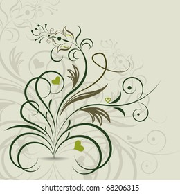 Abstract floral design element.