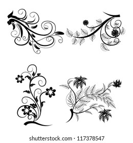 abstract floral design elements set