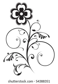 abstract floral element black and white object vector illustration