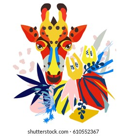 Abstract floral elements paper collage with giraffe.Vector illustration hand drawn.Sketch ready for contemporary scandinavian flat design- poster, invitation, post card, t-shirt design.