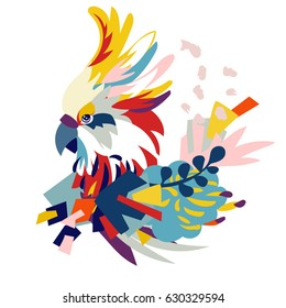 Abstract floral elements paper collage with parrot head.Vector illustration hand drawn.Sketch ready for contemporary scandinavian flat design- poster, invitation, post card, t-shirt design.