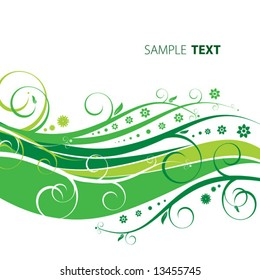 Abstract floral green background
