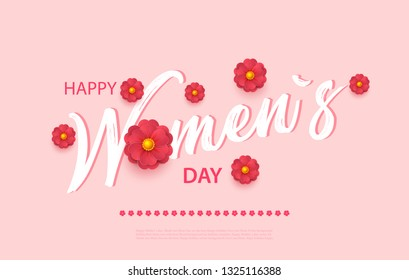 Abstract Floral Greeting card with 8 March - paper cut style greeting card, gift card. International Women s Day. Applique Trendy Design Template. Vector Illustration version.