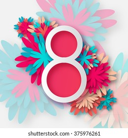 Abstract Floral Greeting card with 8 March - paper cut style greeting card, gift card. International Women's Day. Applique Trendy Design Template. Vector Illustration version.