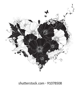 Abstract floral heart black and white