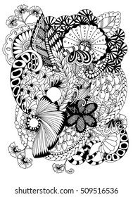 Abstract Floral Image Zentangle Black And White