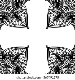 Abstract floral lacy vector frame on white background