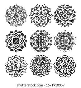 abstract floral mandala ornament set vector