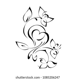 abstract floral ornament in black lines on a white background